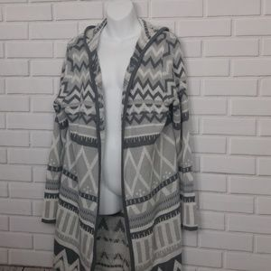Gray White Long Cardigan Sweater Open Front 2XL